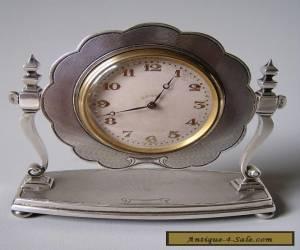 FINE ANTIQUE STERLING SILVER CLOCK Birmingham 1928 for Sale