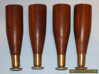 Set of 4 Salvaged Vintage Mid Century Wood Furniture Taper Legs #3