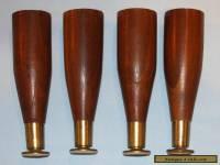 Set of 4 Salvaged Vintage Mid Century Wood Furniture Taper Legs #3