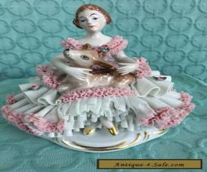 DRESDEN Figurine Girl with Fawn for Sale