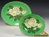 PARAGON HUGE WHITE ROSES GREEN TEA CUP AND SAUCER
