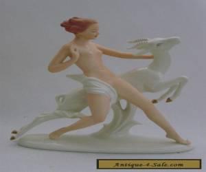 Nude Woman Lady Ibex Goat Decoration Porcelain Figurine Wallendorf German  for Sale