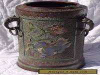 Japanese Meiji Period Bronze Enamel Champleve Double Dragon Brush Pot SIGNED