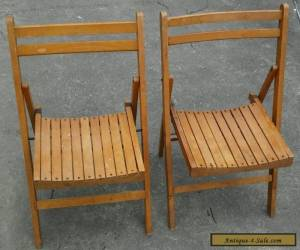 Antique Set Of 2 Wooden Folding Chairs Slat Seat & Back - Art Deco Wood Vintage  for Sale
