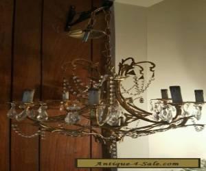 Antique elegant  brass & crystal ceiling chandelier  for Sale