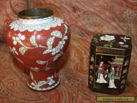 Antique Vintage Chinese Mei Ping Brass Enamel Vase & Cloisonne Box