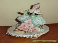 Dresden Porcelain Reine Handarbeit Victorian Woman Sitting on Chair with Fan