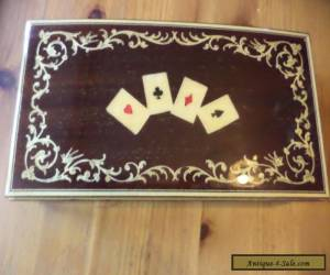 wooden playing cards  box inlaid lid  for Sale