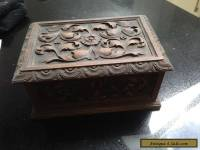 ANTIQUE WOODEN BOX WITH CARVED DETAIL - wood/woodenware