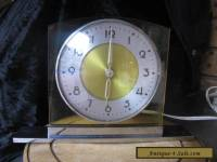 Art Deco chrome brass base yellow perspex surround Aust made clock electric RARE