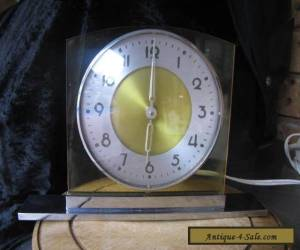 Art Deco chrome brass base yellow perspex surround Aust made clock electric RARE for Sale