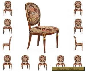 Beautiful Set of Twelve French Louis XVI Style Dining Chairs in Antique Taste for Sale