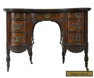 LATE 19TH CENTURY CARVED OAK KIDNEY SHAPED WRITING DESK for Sale