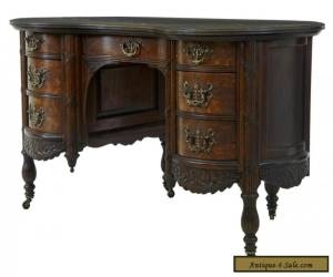 Item LATE 19TH CENTURY CARVED OAK KIDNEY SHAPED WRITING DESK for Sale