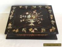 Antique Victorian Era Writing Box,Lap Desk with Pearl Inlay
