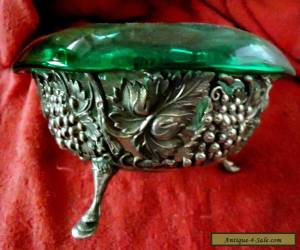 Victorian Silver bowl with green glass insert for Sale