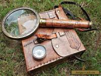 Set of 3 Brass Compass,Telescope & Magnifying Glass with Leather case/Best Gift.
