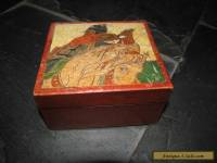 ANTIQUE MEIJI PERIOD WOODEN JAPANESE WARRIOR TRINKET BOX