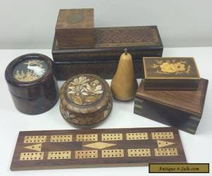 8 VINTAGE WOODEN BOXES & TREEN - BEAUTIFUL MIXED LOT - CARVED INLAID SAN YOU ETC for Sale