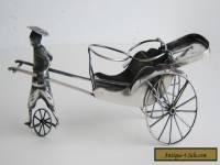 Fine Old Chinese HK Sterling Silver Figural Rickshaw Salt & Pepper Cruet Holder