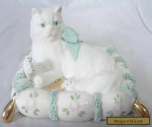 MZ Ireland Irish Dresden Lace Cat on Cushion Figure c1965 for Sale