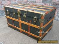 Antique Fitted Steamer Trunk Travel Chest ~ Coffee Table End Stand