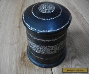 Antique Papier Mache Mother of Pearl inlaid Trinket Box  for Sale