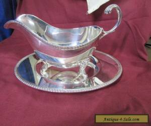 SILVER GRAVY BOAT WITH SPILL TRAY for Sale