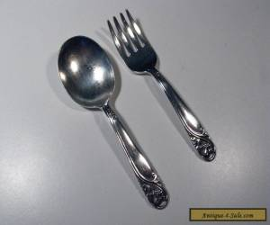 """STERLING SILVER Baby Set 2-PC 4 """" Fork and Spoon Mono  for Sale"""