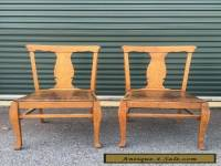 Pair Antique Vintage Oak Wood Wooden Fiddleback Side Dining Accent Fabric Chairs