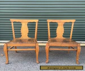 Pair Antique Vintage Oak Wood Wooden Fiddleback Side Dining Accent Fabric Chairs for Sale