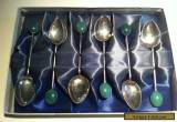 Rare Chinese Jade & Sterling Silver Teaspoon Set Made in Hong Kong 1960s for Sale
