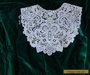 Stunning Antique Cotton Lace Collar-Large Ornate Floral Motifs  for Sale