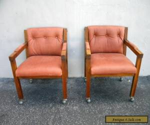 Pair of Vintage Mid-Century Modern Oak Side by Side Chairs 5456 for Sale
