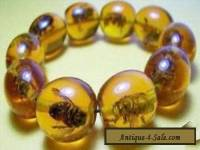 Rare Asian jewelry Amber Colored real Bee Bracelet#