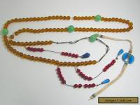 """Qing Dynasty Chinese Court Beads Yellow/Amber Red Blue Glass 53"""" Circumference"""
