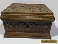 Antique Carved Curio Wood Hinge Box, 1900's