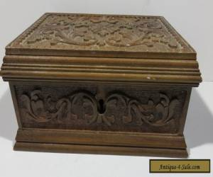 Antique Carved Curio Wood Hinge Box, 1900's for Sale