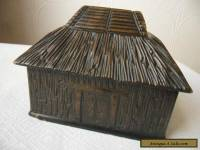 Vintage  Tribal Hut  Carved Wood Trinket Box