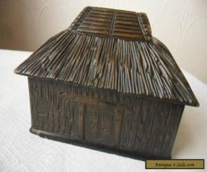 Vintage  Tribal Hut  Carved Wood Trinket Box for Sale