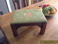 Antique Victorian Era Needlepoint Foot Stool - Hand Carved With Nailhead