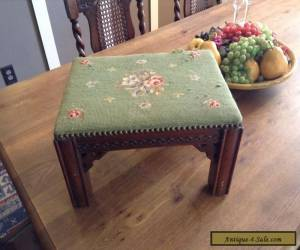 Antique Victorian Era Needlepoint Foot Stool - Hand Carved With Nailhead  for Sale