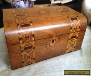 Victorian wooden inlay jewellery box. for Sale