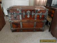 Vintage Victorian Large Flat Top Steamer Trunk, C1890
