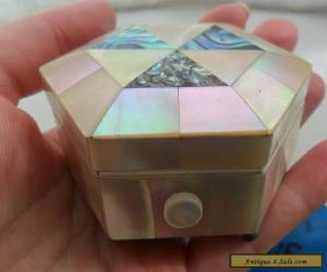 Vintage antique jewellery miniature box mother of pearl abalone Victorian for Sale
