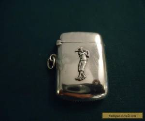 Antique 1910 Silver 'Golfer' Golf Vesta Case. for Sale