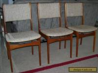 VINTAGE MID CENTURY DANISH MODERN DESK DINING TEAK CHAIRS SET OF 3-