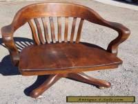 Antique Solid Oak Wood Swivel Chair  Bankers Barrel Office Desk Gunlocke style