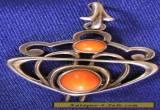 STERLING SILVER PENDANT ARTS/CRAFTS STYLE  ORANGE STONE SET VINTAGE BEST DESIGN  for Sale