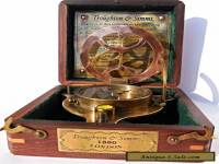 Big Brass Triangle Sundial Compass with wooden Box.